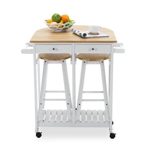 Oak Kitchen Island Cart Trolley Storage Dining Table 2 Bar