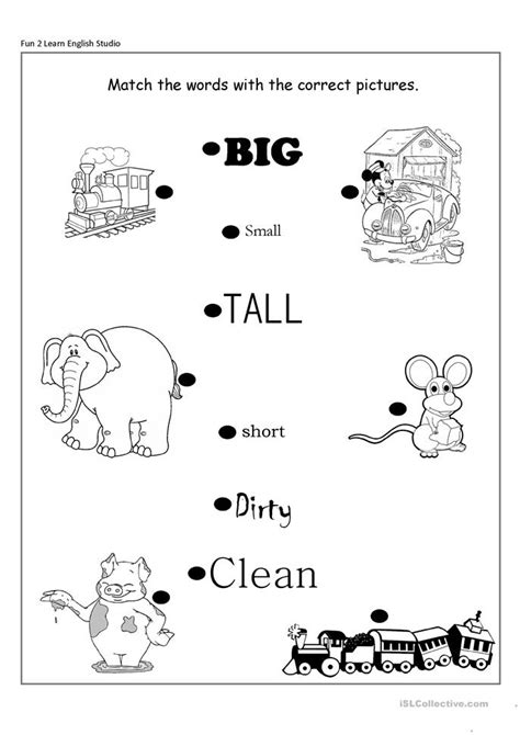 the big worksheet opposite adjectives big small clean
