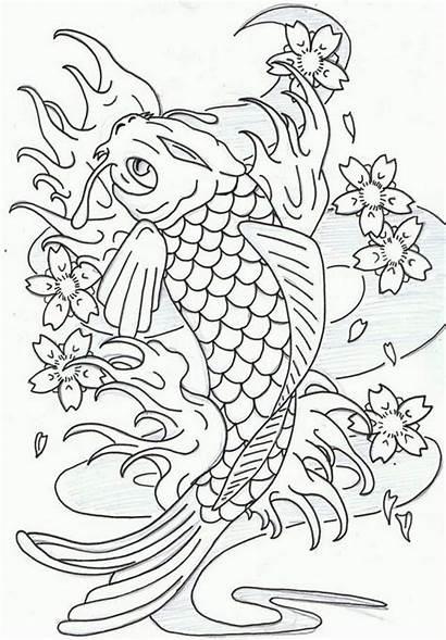 Coloring Pages Koi Fish Carp Heavy Metal