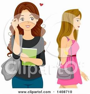 Clipart of a Rear View of High School Students at a ...