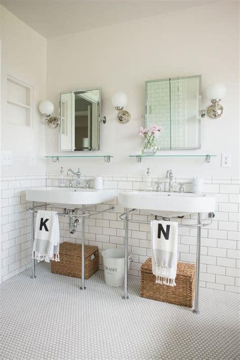 traditional full bathroom  console sink daltile retro