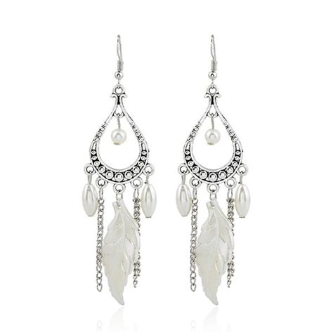 cheap chandelier earrings wholesale pearl feather chandelier earrings silver