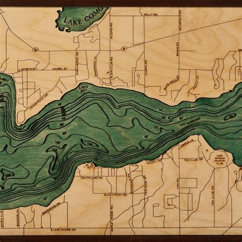 lake geneva wood map  nautical topographic chart