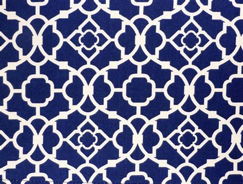 blue kitchen curtain with geometric lattice pattern