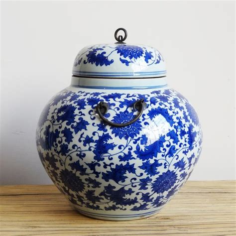 ceramic pots for blue white lidded ceramic jar chairish 5189