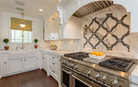 Marble Quatrefoil Tiles  Transitional  Kitchen  Space. Tuscan Style Kitchen. 4 Foot Shower. Tuscan Dining Room. Small Corner Bathtub. Large Ceramic Planters. Painted Glass Backsplash. Restroom Decor. Delicatus White Granite