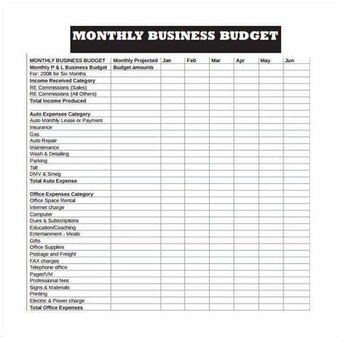 business budget templates  images business budget