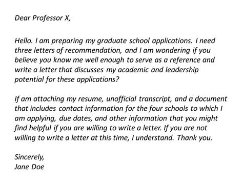 asking for a letter of recommendation letter of
