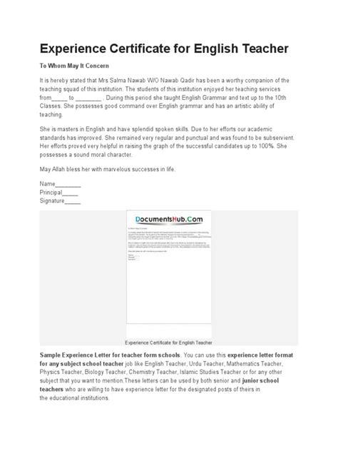 experience certificate  english teacher teachers