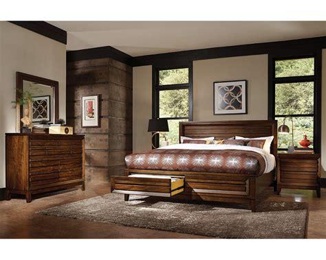 Aspenhome Bedroom Set W Panel Storage Bed Walnut Park