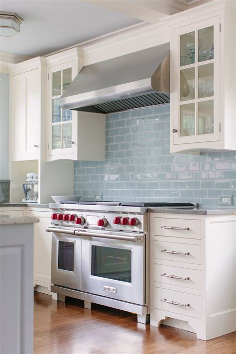 love  classic white kitchen  pale blue subway tile