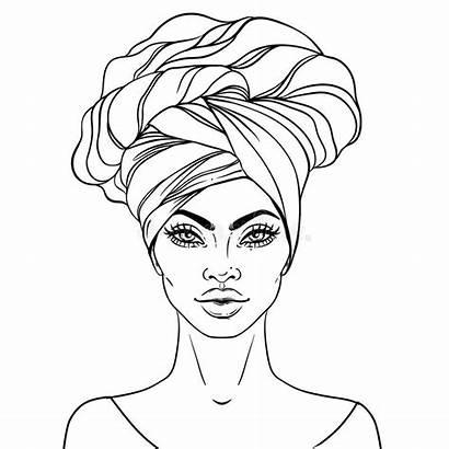 African Woman American Vector Illustration Pretty Lips