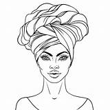 African Woman Vector American Illustration Pretty Lips Turban sketch template