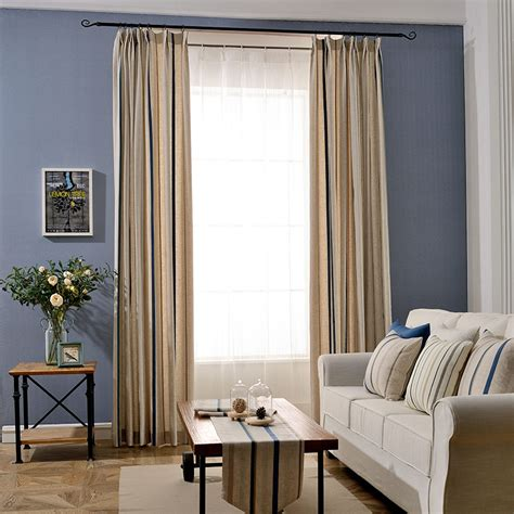 tan striped linen pinch pleated funky long curtains  drapes