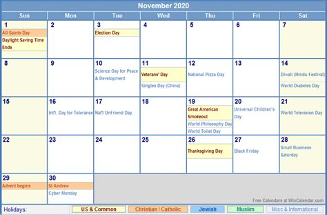november calendar holidays printing image format