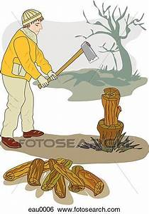 Stock Illustration of A drawing of a man chopping firewood ...