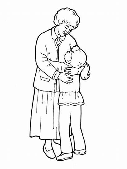 Grandmother Coloring Pages Hug Lds Hugging Drawing
