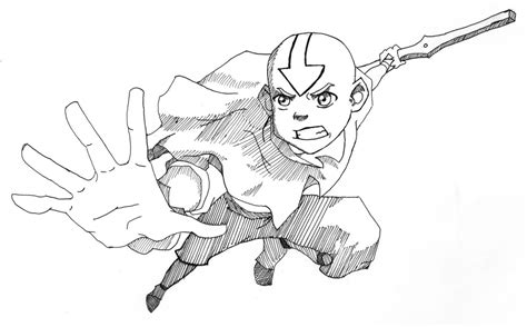 Draw Avatar Last Airbender Sketch Coloring Page
