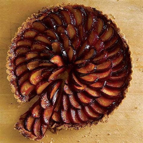 plum tart with lemon shortbread crust finecooking
