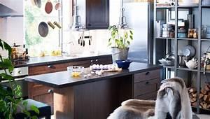 Ikea Griffe Küche : k che mit faktum wand unterschr nken rockhammar fronten braun f gleboda griffen schwarz ~ Markanthonyermac.com Haus und Dekorationen