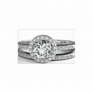 round cut cz halo design 2 piece genuine 925 sterling With unique affordable wedding rings
