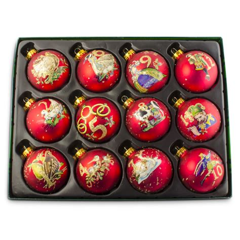 2 5 quot 12 days of christmas glass ball christmas ornaments set of 12 ebay