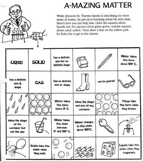 matter worksheets solid liquid gas worksheet science with kiddos pinterest worksheets