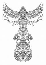 Totem Coloring Pages Pole Poles Animal Colouring Adult sketch template