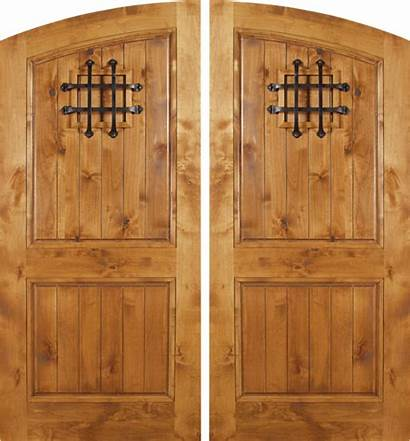 Rustic Wood Alder Knotty Spanish Doors Double