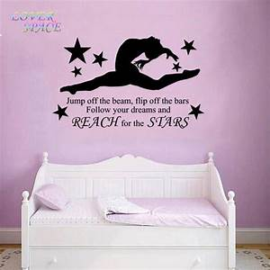 gymnast gymnastic girls bedroom quote vinyl wall art wall With nice removable wall decals for girls rooms