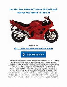 Suzuki Rf 900r Rf900r Diy Service Manual Repair