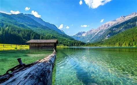 lake nature boathouses mountain landscape log summer
