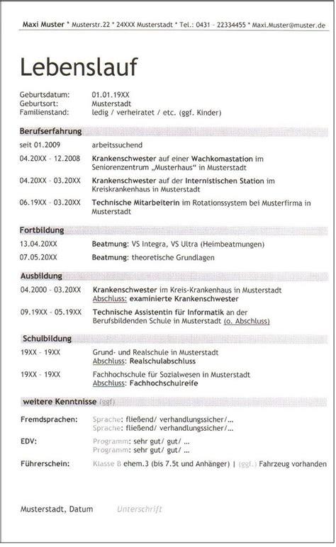 Lebenslauf Doc Vorlage by Lebenslauf Vorlage Doc Vorlagen Komplett