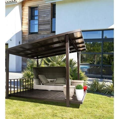überdachung terrasse alu terrasse couverte en alu et polycarbonate taupe achat vente pergola en aluminium pas cher