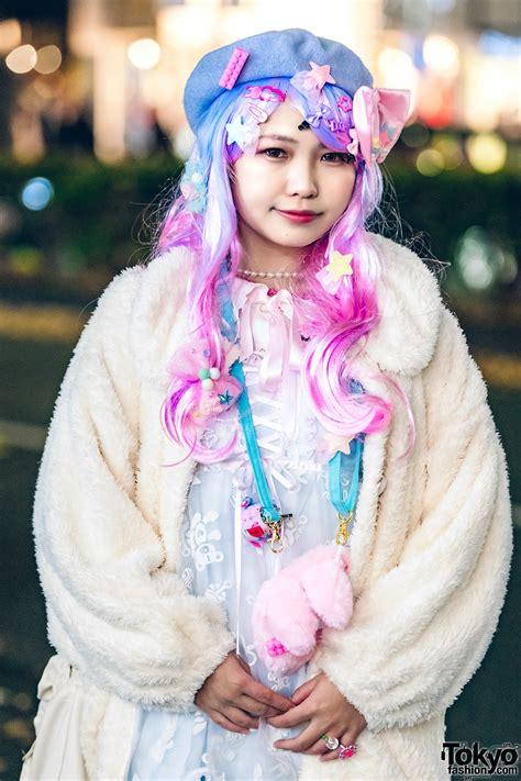 harajuku girl  fairy kei fashion style  liz lisa shearling coat nile perch ruffle dress