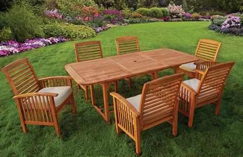 outdoor sets acacia wood 7 pc outdoor dining set