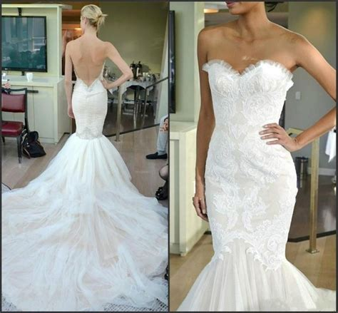 Discount Vintage Lace Mermaid Backless Wedding Dresses