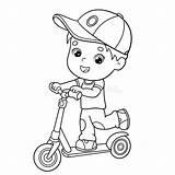 Scooter Coloring Boy Cartoon Outline Coloriage Livre Boys Activity Vectors Garcon Dessinees Bandes Coloration Enfants Plan Human Clipart Illustrations sketch template