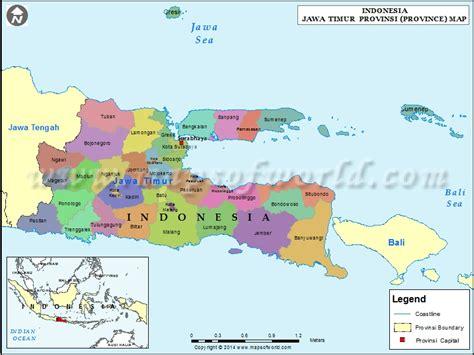 jawa timur map map  jawa timur province indonesia