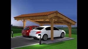 Abri Voiture En Bois : d mo montage abri voiture bois carport 2 places en kit ~ Nature-et-papiers.com Idées de Décoration