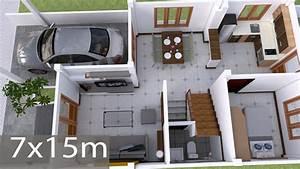 Interior, Design, Plan, 7x15m, Walk, Through, With, Full, Plan, 4beds