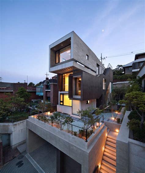Grey Contemporary Exterior Design from a Three Story House