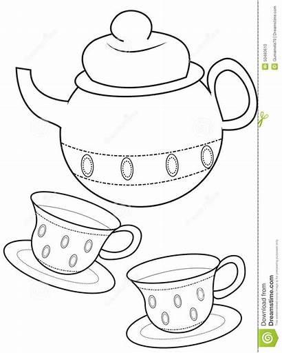Tea Coloring Cup Drawings 3kb 1043 1300px