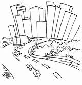 Coloring Pages Skyline Road Roadway Drawing Fast Furious Running Chicago Van Easy Pittsburgh Template Sheets Street Printable Streets Getdrawings Dirt sketch template