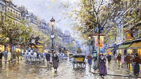 A Painting Of 19th Century Grands Boulevards Paris France