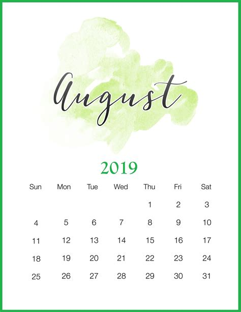 august calendar cute holidays