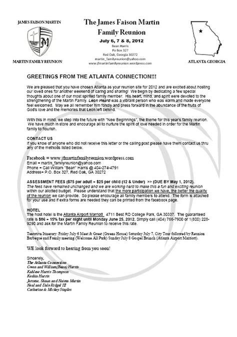 family reunion welcome letter martin family reunion 2012 atlanta connection