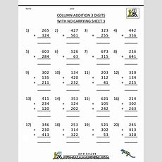 Free Printable Addition Worksheets 3 Digits