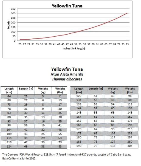 tuna yellowfin weight fish length conversion mexican tables representative presented example below