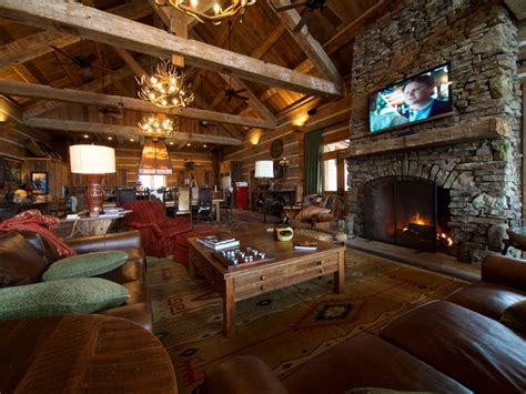 hunting lodge great room living room  reclaimed
